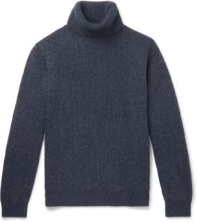 Ribbed Mélange Virgin Wool Rollneck Sweater - Blue