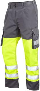 Leo arbetskläder Bideford CT01-Y/GY Hej Vis Cargo byxor - gul & grå...
