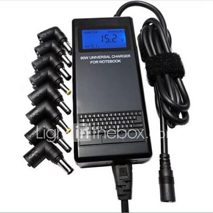 Universal Auto 90W Notebook / Laptop Power Adapter jossa LCD-näyttö ja USB-portti ja 8 Liittimet (10-24V)