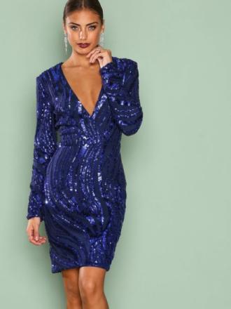 NLY One Luxe Glitter Dress Paljettklänningar Blå