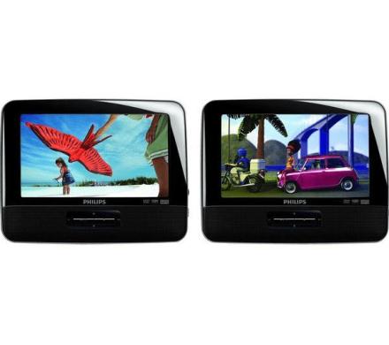 """Philips bärbar 7"""" dvd-spelare pd7042 (2 skärmar)"""
