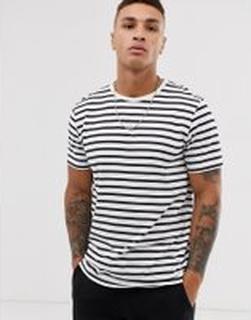 Topman t-shirt in horizontal white & navy stripe - White