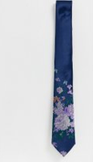 Twisted Tailor tie with floral butterfly print in blue - Navy