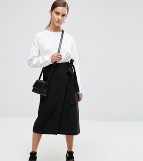 ASOS PETITE Tailored Midi Simple Wrap - Black