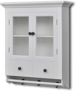 vidaXL Kjøkkenkabinett vegg med glassdør hvit tre