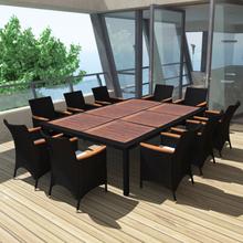 vidaXL udendørs spisebordssæt 11 dele med hynder polyrattan sort