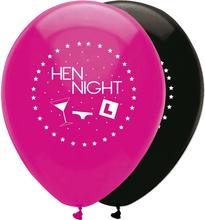 Hen Night, Ballonger Rosa-Svart 6 st