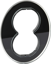 Schneider Renova Täckram glas, för 2-vägs vägguttag, svart