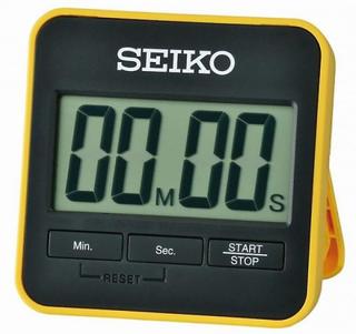 Seiko ure - Alarm Seiko QHY001YN - awakening firkantet sort og gul