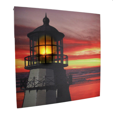 Lys i himmelen LED lyser fyr på solnedgang lerret veggen henger
