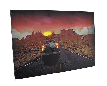 Vintage lastebil på Route 66 ved solnedgang LED tent lerret veggen ...