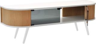 HUGO TV-bänk vit/ek med vita ben