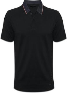 Emporio Armani Emporio Armani EA Mens svart Polo Shirt Denim krage ...