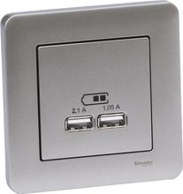 Schneider Exxact Laddstation infälld, 2 USB Metallic