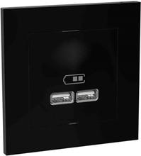 Elko Plus Laddstation infälld, 2 USB Svart