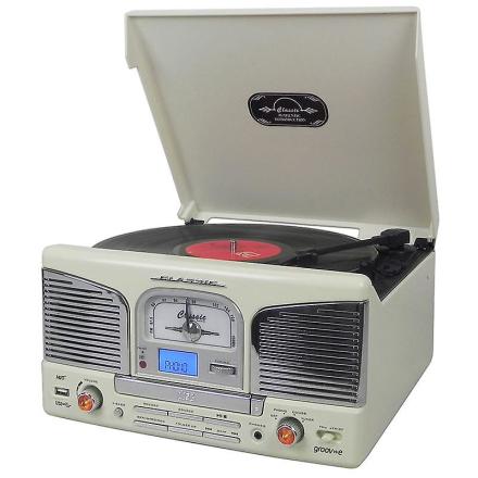 Groov-e Retro musik Center Vinyl pladespiller med USB-CD og FM-Radi...