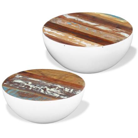 vidaXL To Stykker Bolledormede Kaffebord Sett Solid Gjenvunnet Tre