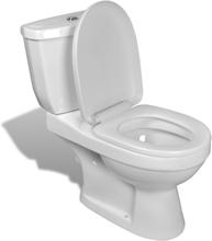 vidaXL Toalettstol komplett med cistern vit