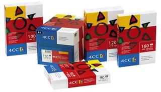 4CC Kopipapir A4 100 g t/farve -kopi/InkJet/laser pk/500 ark