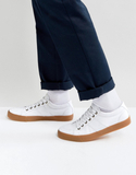ASOS Lace Up Trainers In White Canvas With Gum Sol