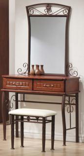 Olympia - Sminkbord med pall (antik körsbär)