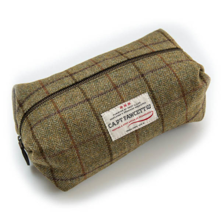 Captain Fawcett Tweed Wash Bag