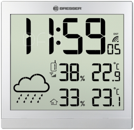 Bresser TemeoTrend JC silver LCD Weather Wall Clock