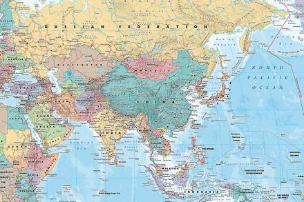 Asien og Mellemøsten kort Maxi plakat 61x91.5cm