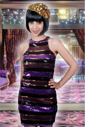 Kvinnor kostymer kvinnor Disco paljett klänning Crazy ränder