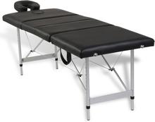 vidaXL Svart hopfällbar 4-sektions massagebänk med aluminium ram