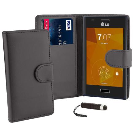Boka plånbok fallet täcker för LG Optimus L9 (P760) + penna - svart