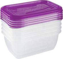 Zestaw 5 pojemników prostokątnych na żywność - Fredo Fresh - 0,5 litra - ciemna śliwka