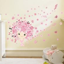 Wallsticker Pige med blomsterhår