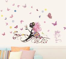 Wallsticker Stor fe med blomster og sommerfugle