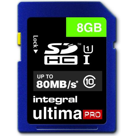 Integrert UltimaPro 8GB SDHC 80MB/s klasse 10 UHS-1 Card