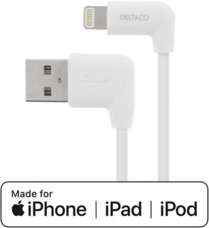 Deltaco Lightningkabel 1m vinklad USB-A/Lightning MFi Vit