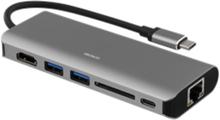 Deltaco USB-C dockningsstation UHD i 30Hz Space Gray