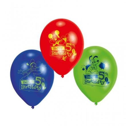 5-års födelsedagsballonger - Musse pigg - 23 cm latex - 6 st