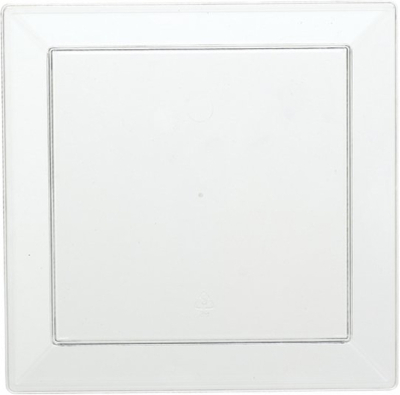 Transparenta fyrkantiga tallrikar i plast - 13 cm