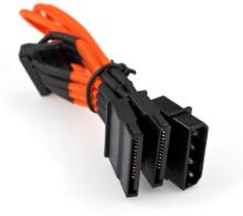 Molex to 3 SATA Cable 200mm - Orange