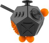 Dodecagon fidget cube antistresskub - svart/orange