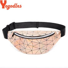 Yogodlns Holographic Bag for Women Geometric Plaid Women Laser Bum Bag Reflective Sliver Belt Waist Bag Holographic Purse