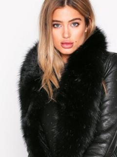 NLY Accessories Long Fur Collar Halsdukar & Scarves Svart