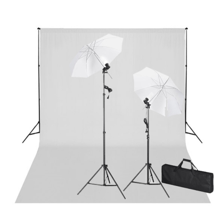 vidaXL studiosæt med hvid fotobaggrund og lamper 600 x 300 cm