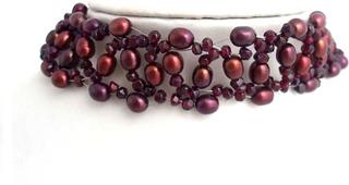 MyAngels Shell pärlor halsband halsband Garnet Pearl halsband 925 S...