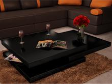 vidaXL Soffbord 3 nivåer högglans svart