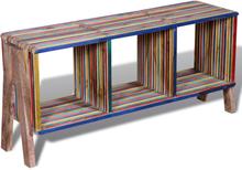 vidaXL TV bänk med 3 hyllor i färgglad återvunnen teak stapelbar design