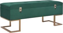 vidaXL Bänk med förvaringsutrymme 105 cm grön sammet