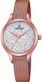 Festina klocka Miss F20338-1 - klocka analog stål guld ros fru