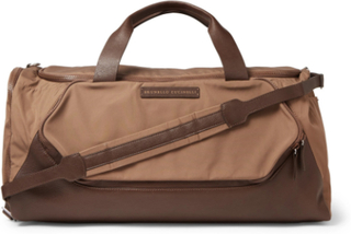 Leather-trimmed Nylon Holdall - Brown